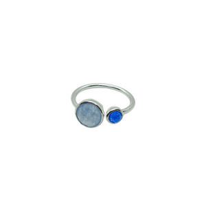 Sterling Silver Blue Chalcedony & Blue Quartz Gemstone Adjustable Ring