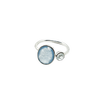 Load image into Gallery viewer, Sterling Silver Blue Chalcedony & Topaz gemstones adjustable ring