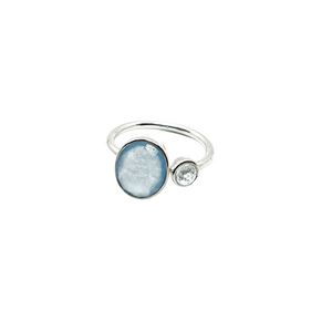 Sterling Silver Blue Chalcedony & Topaz gemstones adjustable ring
