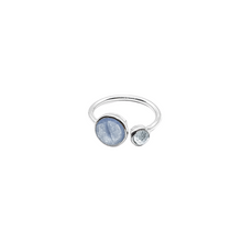 Load image into Gallery viewer, Sterling Silver Blue Chalcedony & Topaz gemstones ring