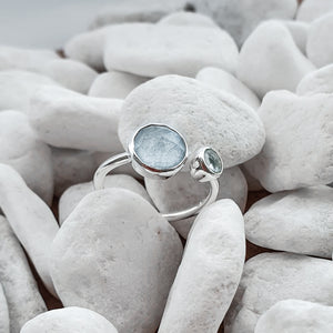 Sterling Silver Blue Chalcedony & Topaz gemstones ring