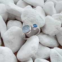Load image into Gallery viewer, Sterling Silver Blue Quartz & Blue chalcedony gemstone adjustabel ring 7
