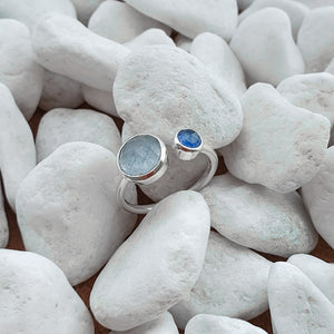 Sterling Silver Blue Quartz & Blue chalcedony gemstone adjustabel ring 7