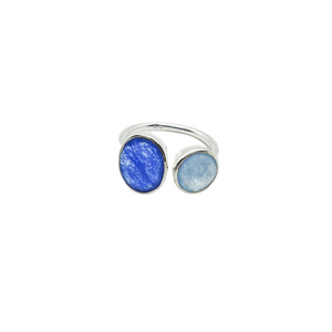 Sterling Silver Blue Quartz & Blue Chalcedony Gemstones Adjustabel Ring