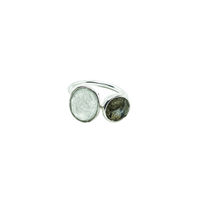 Sterling Silver Chalcedony & Labradorite adjustable ring