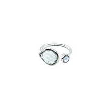 Load image into Gallery viewer, Sterling Silver Topaz * Blue chalcedony gemstone adjustabel ring