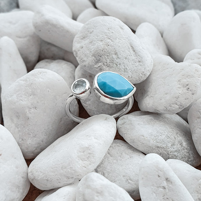 Sterling Silver Turquoise & Blue Chalcedony gemstones adjustable ring 1