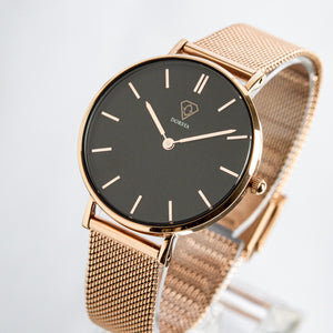 Tinia | Black dial | rose gold mesh strap | woman watch | Dorsya