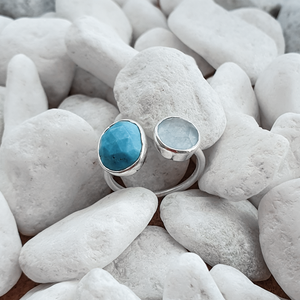 Turquoise and Blue Chalchedony Gemstone Silver Ring