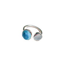 Load image into Gallery viewer, Turquoise and Blue Chalchedony Gemstone Silver Ring