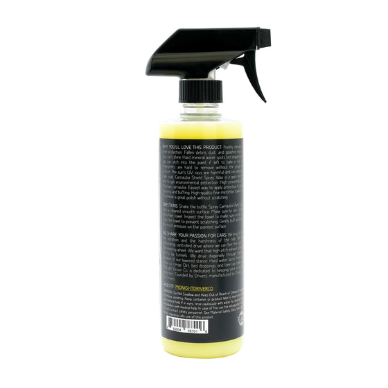Midnight Driver Carnauba Shield Spray Wax instructions