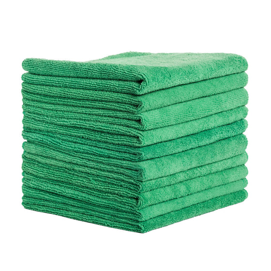 10Pcs Terry Microfiber Towels 16x16in 300GSM Green