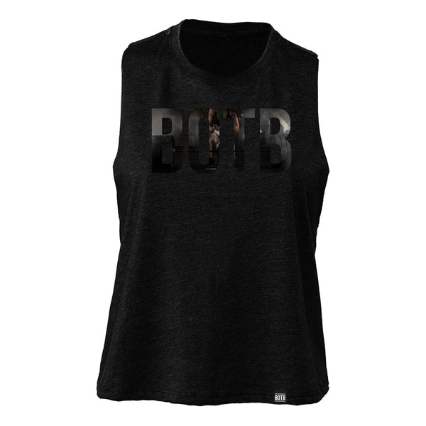BOTB Chalk Up Women's Racerback Cropped Tank Solid Black Blend