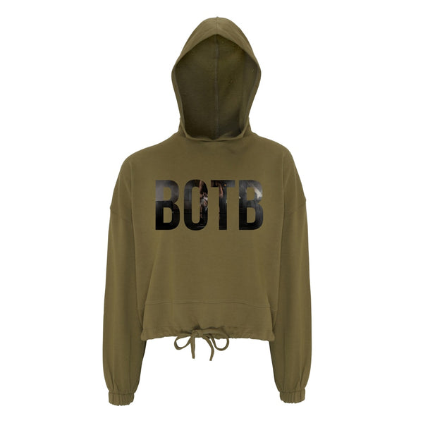 BOTB Chalk Up Women's Cropped Oversize Hoodie Olive