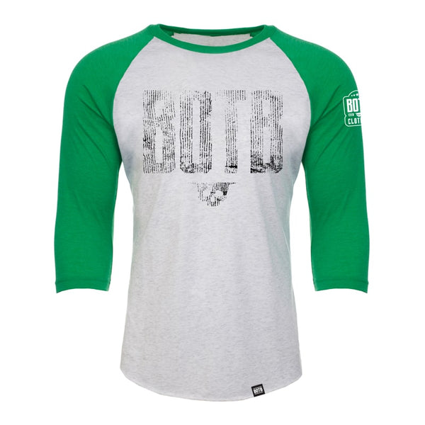 BOTB GRUNGE 3/4 Sleeve T-Shirt - Envy & Heather White