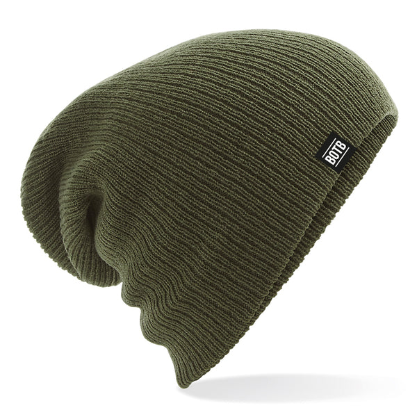 Back On The Bar Slouch Beanie - Olive Green
