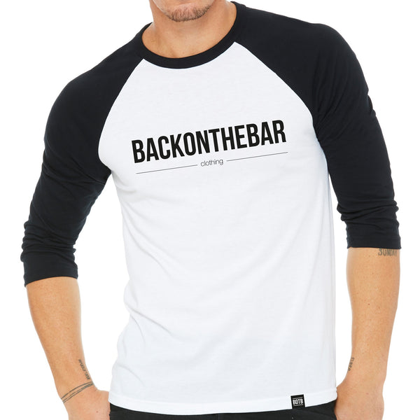 Back On The Bar White/Black Baseball Tee
