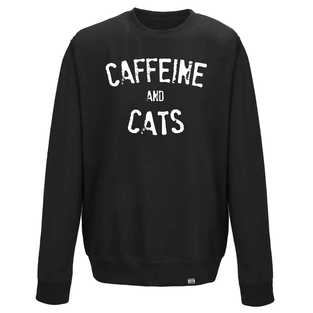 Caffeine And Cats Crew Neck Sweater