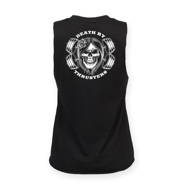 Women's Death By Thrusters High Neck Slash Armhole Vest