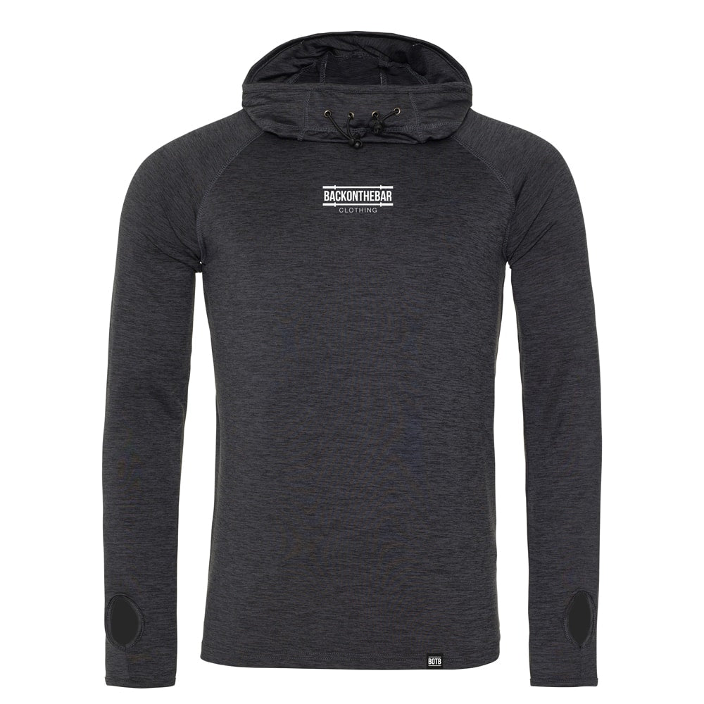 Performance Cowl Neck Hoodie - Black Slate Melange