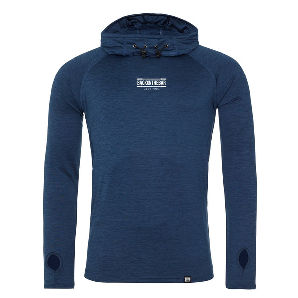 Performance Cowl Neck Hoodie - Navy Melange