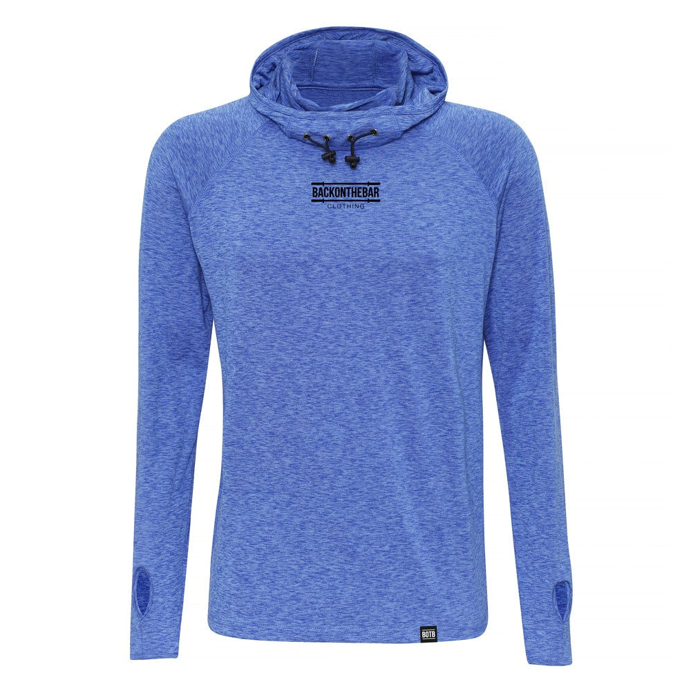 Performance Cowl Neck Hoodie - Royal Melange