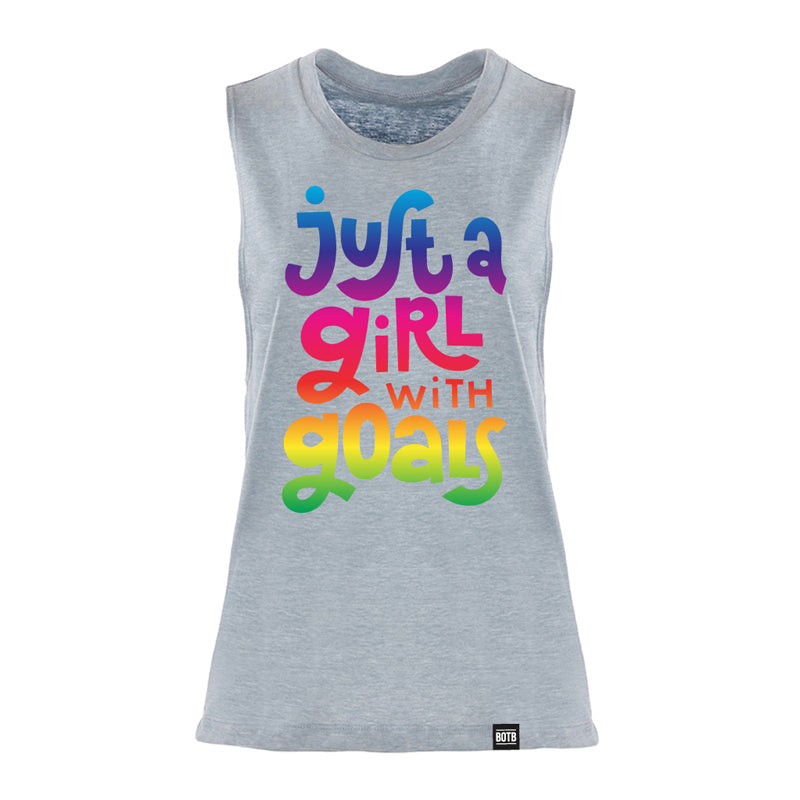 Just A Girl With A Goal Ladies Muscle Tank