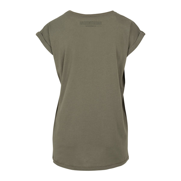 Women's BOTB Outline Extended Shoulder Tee - Olive