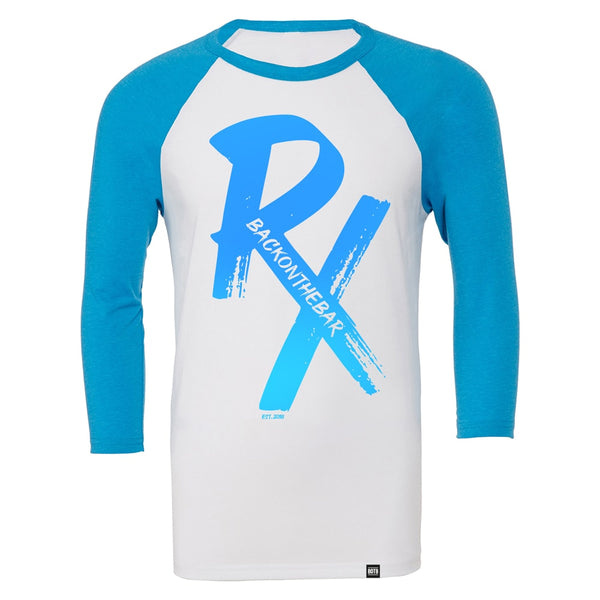 RX Baseball Tee - White & Neon Blue