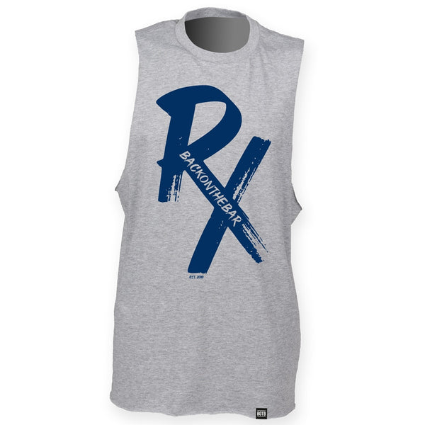 RX High Neck Slash Armhole Vest - Blue & Heather Grey
