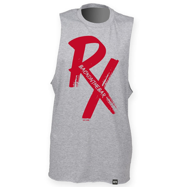 RX High Neck Slash Armhole Vest - Red & Heather Grey
