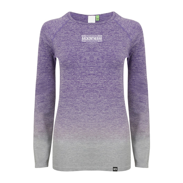 Seamless Fade Out Long Sleeve Top - Purple Light Grey Marl