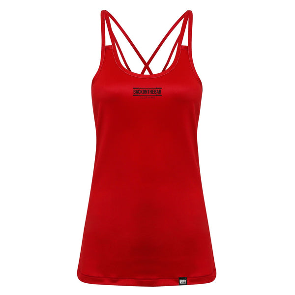 Women's Spaghetti Strap Training Vest - Fire Red