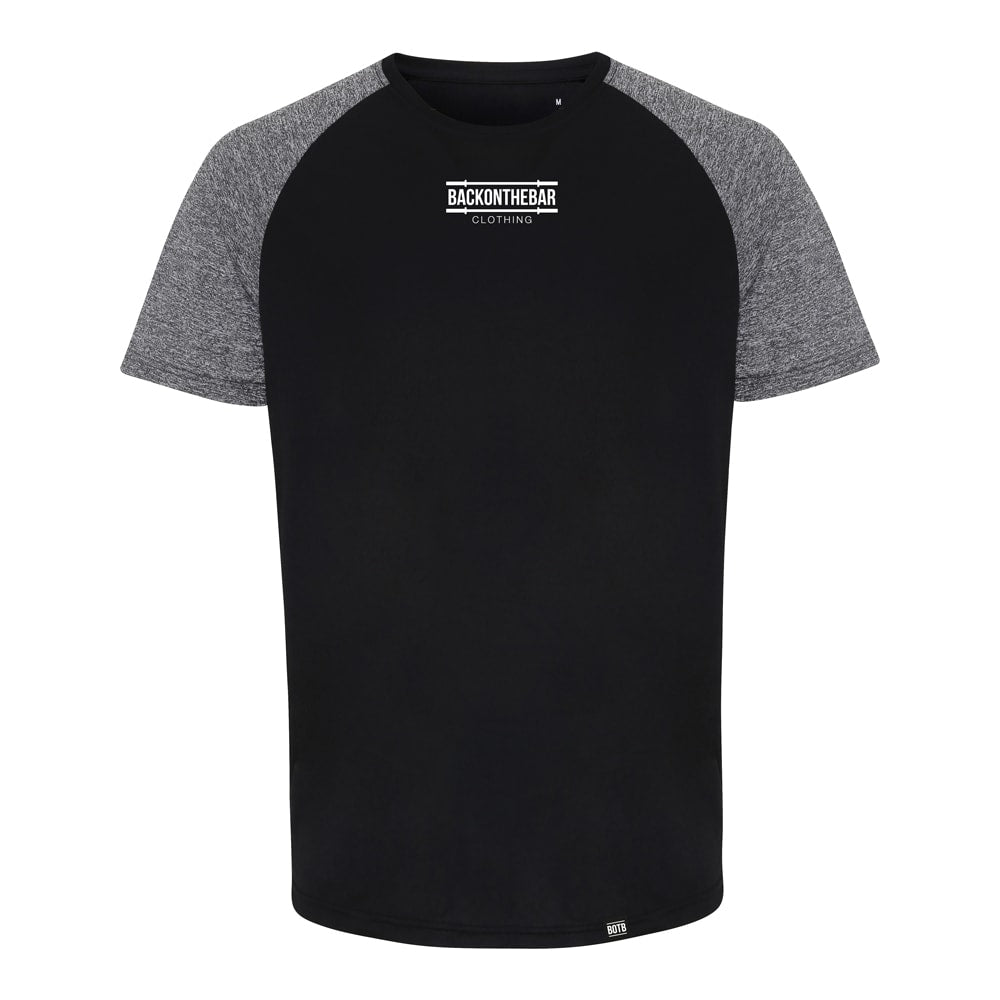 Performance Contrast Sleeve T-Shirt - Black/Black Melange
