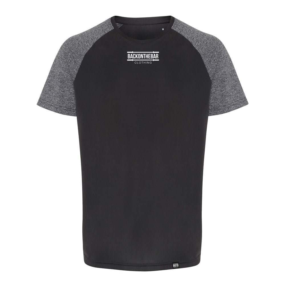 Performance Contrast Sleeve T-Shirt - Charcoal/Black Melange