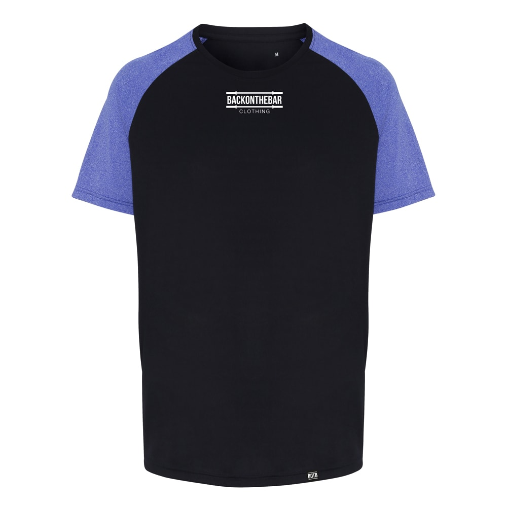Performance Contrast Sleeve T-Shirt - Navy/Blue Melange