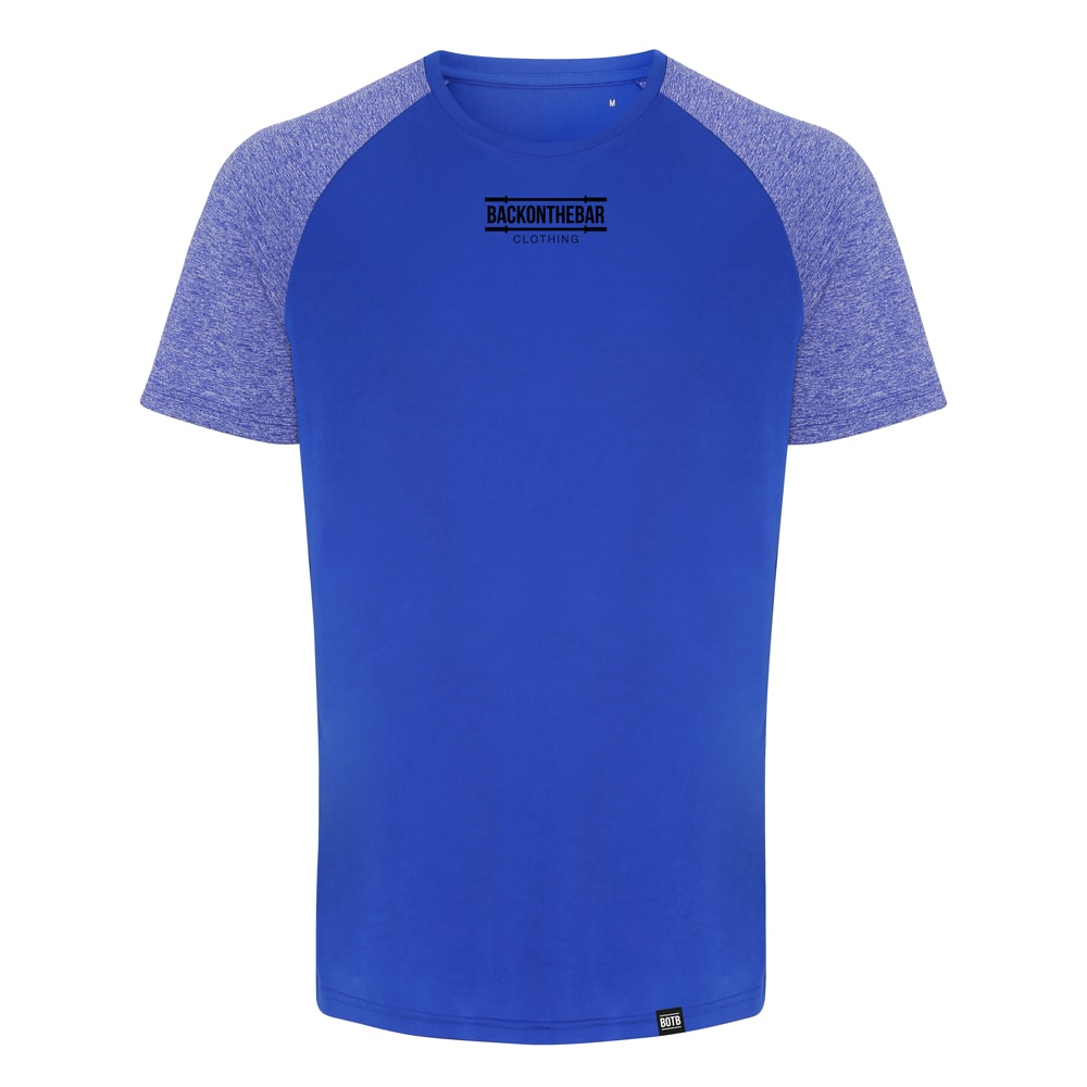 Performance Contrast Sleeve T-Shirt - Royal/Blue Melange