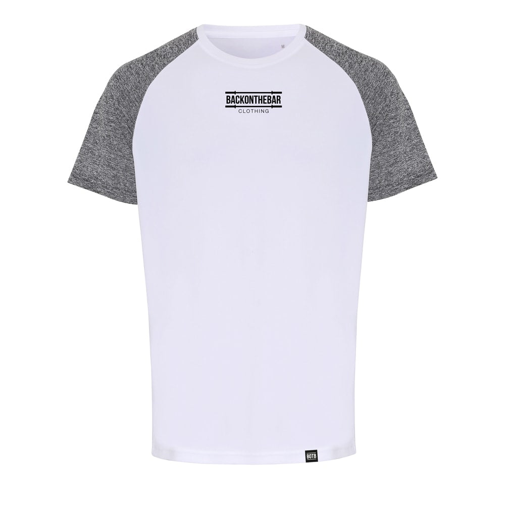 Performance Contrast Sleeve T-Shirt - White/Black Melange