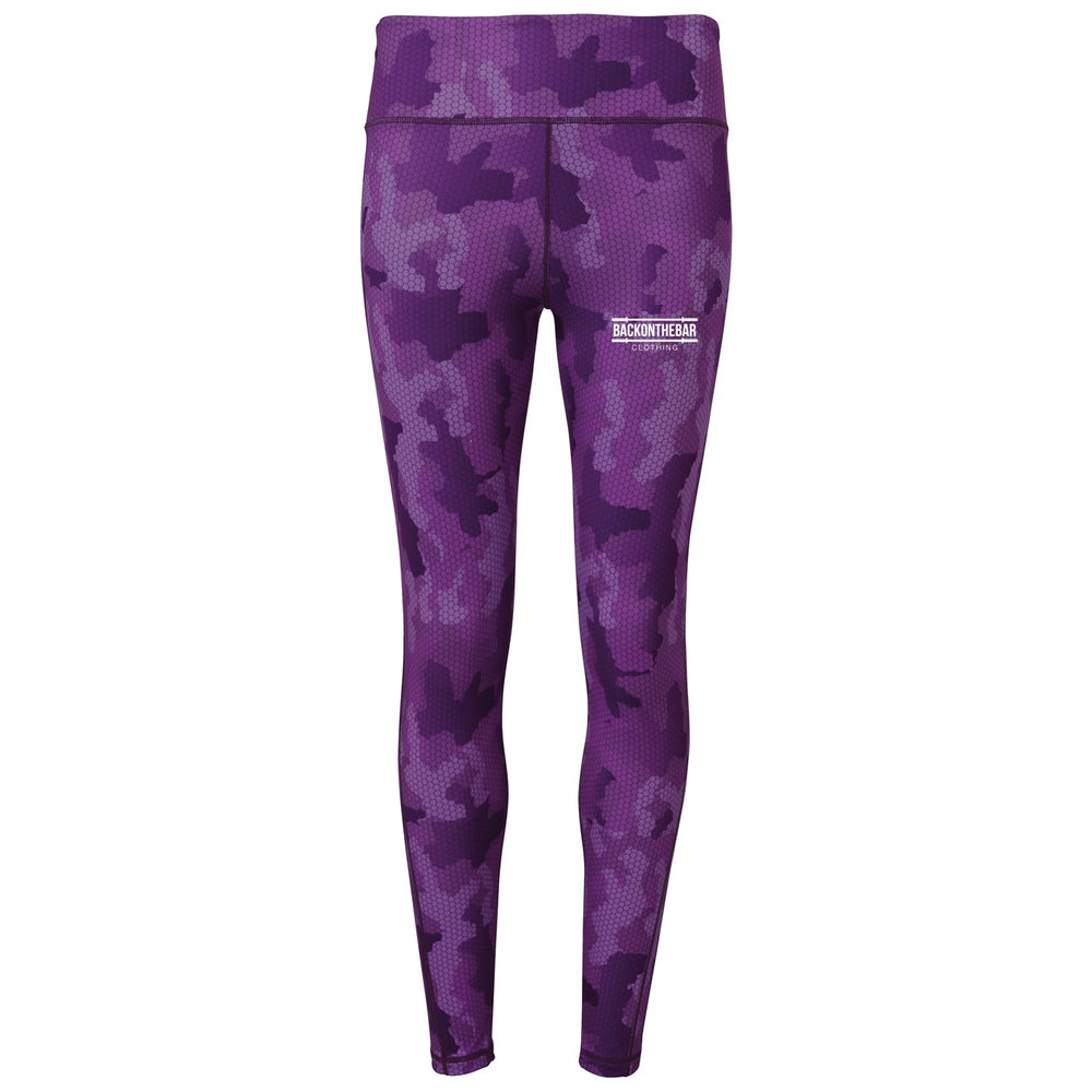 Women's Hex Camo Leggings - Camo Hot Purple