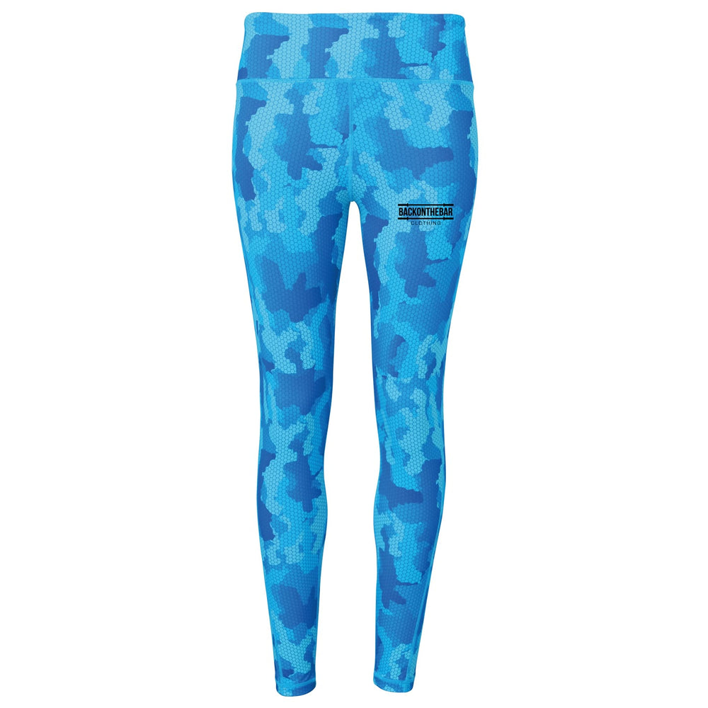Women's Hex Camo Leggings - Camo Hot Sapphire