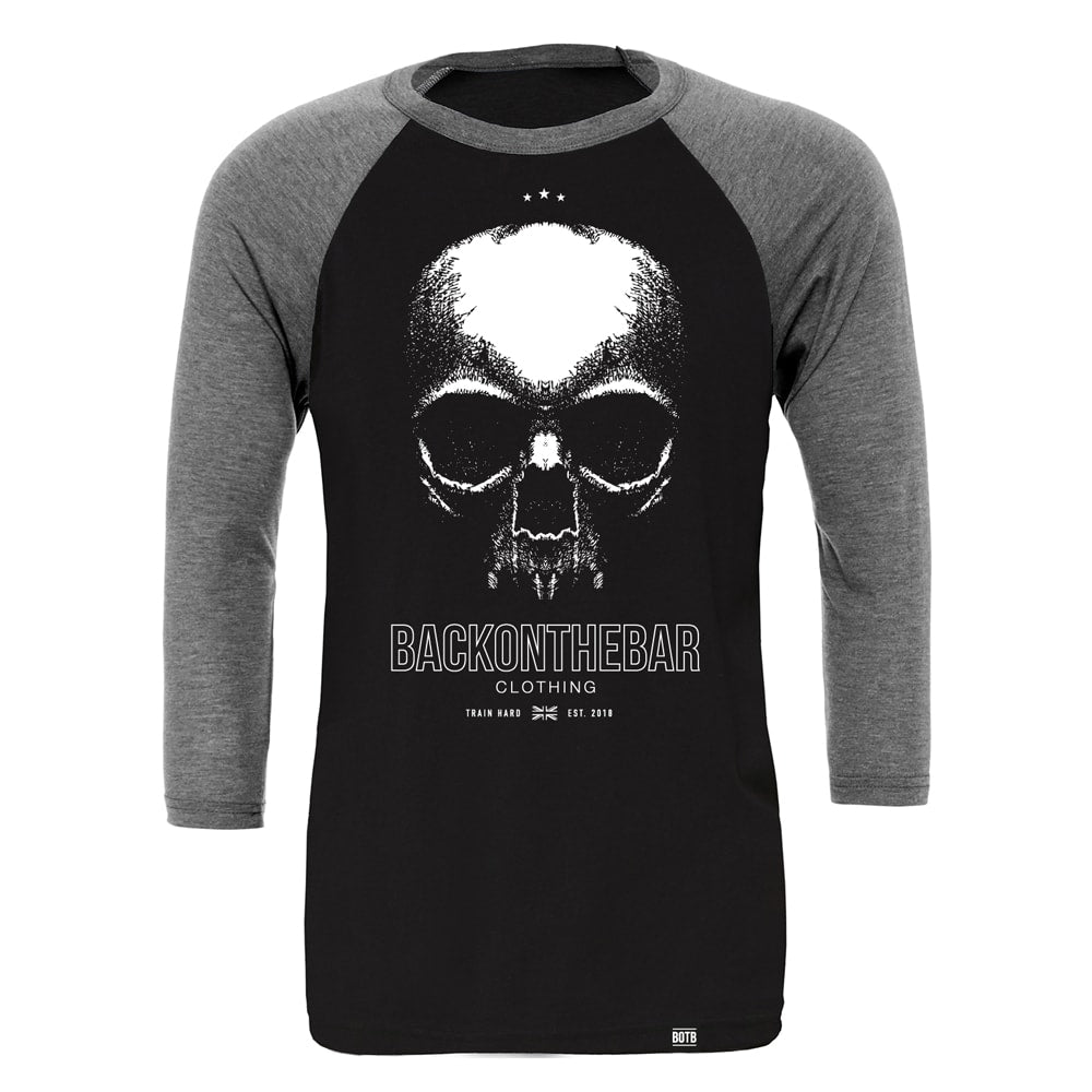 Train Hard Baseball Tee - Black & Deep Heather