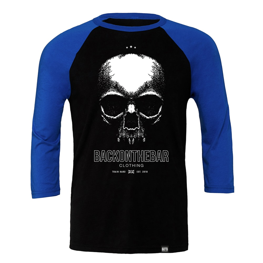 Train Hard Baseball Tee - Black & True Royal
