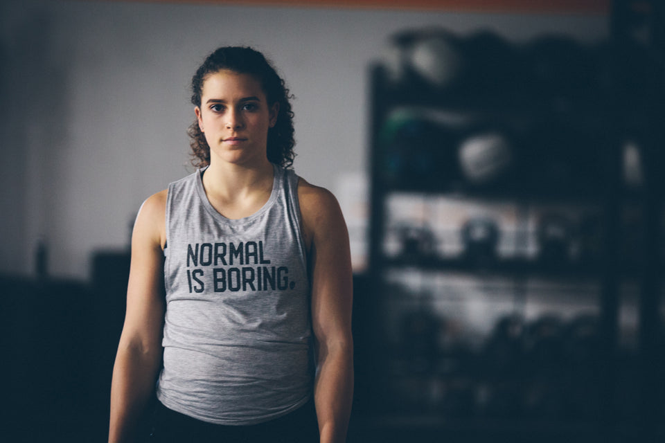 Normal Is Boring Light Grey Muscle Tank by Auya