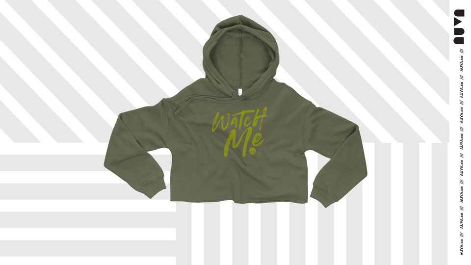 Olive Green Watch Me Crop Hoodie by Auya