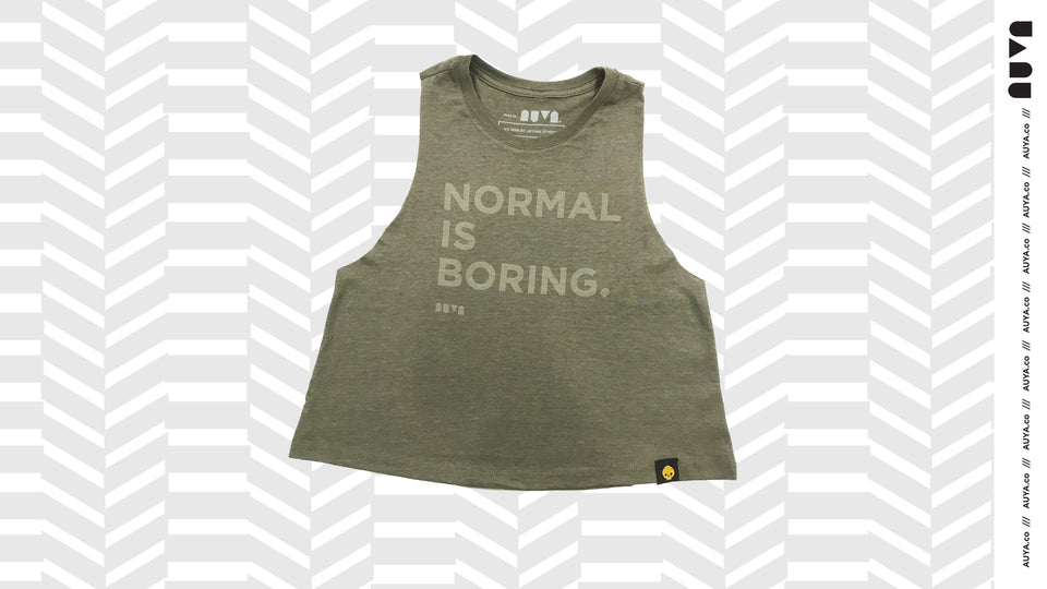 Olive Green Normal Is Boring Crop Tank by Auya Co.