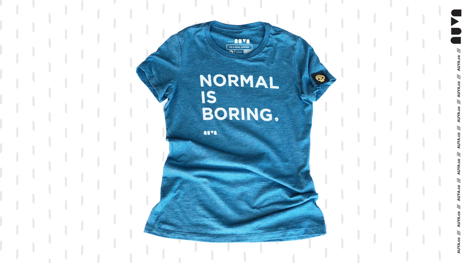 Heather Teal, Normal Is Boring youth T-shirt by Auya Co.