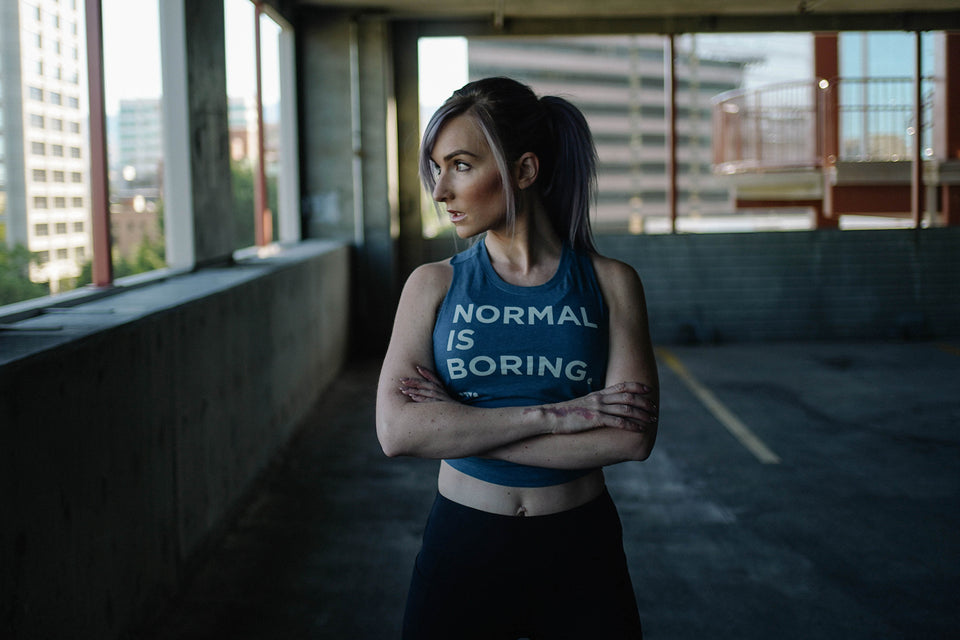 Heather Teal Normal Is Boring Crop Tank by Auya Co.