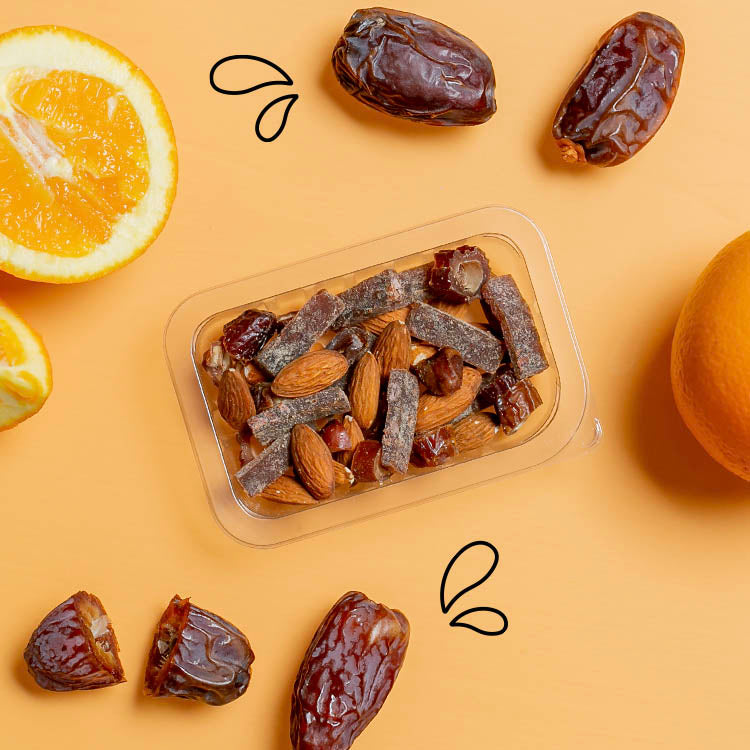 graze cacao orange fruit pieces with dates and raw almonds multipack
