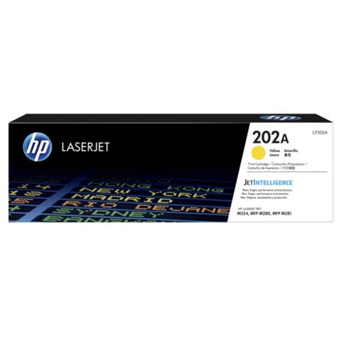 HP 202A (CF502A) Color LaserJet Pro M254 MFP M281 Yellow Original LaserJet Toner Cartridge (1300 Yield)