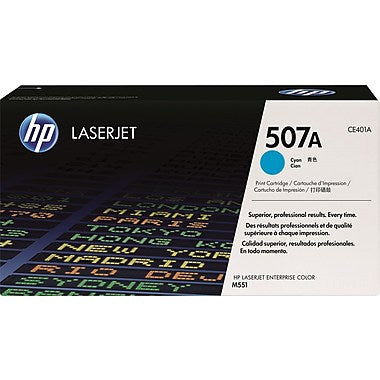 HP 507A (CE401A) Color LaserJet M551 Enterprise 500 MFP M570 M575 M575c Cyan Original LaserJet Toner Cartridge (6000 Yield)